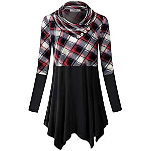 Cestyle Womens Long Sleeve Cowl Neck Asymmetrical Hemline Flowy Tunic Top