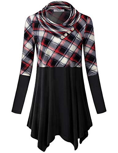 Misses Dress Tunic - Cestyle Ladies Tops,Womens Long Sleeve Cowl Neck Sweatshirts Misses Color Block Lightweight Pullover Blouses Plaid Splicing Tunic Sweater Tees Casual Long Shirts Leggings Plaid Large