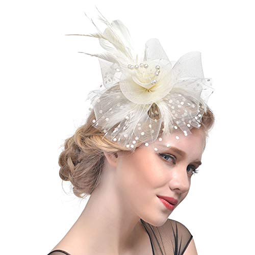 Fascinators Hats for Women 20s 50s Vintage Pillbox Hats Ladies Wedding Hats Cocktail Tea Party Hats Sinamay Derby Hats Bridal Shower Halloween Costume Hair Accessories (A-Beige)