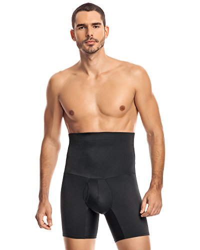 Leo Men's High Waist Slimming Tummy Abs Shaper with Boxer Brief,Black,Large by Leo