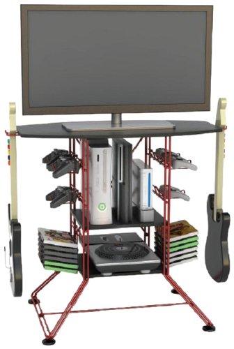 Centipede Gaming Hub - Red Metallic Frame - Black Top (Centipede Black Game Storage And Tv Stand)