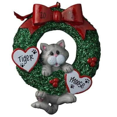 Gray Tabby Cat Glitter Wreath Personalized - (Unique Christmas Tree Ornament - Classic Decor for A Holiday Party - Custom Decorations for Family Kids Baby Military Sports Or - Ornaments Cat Personalized