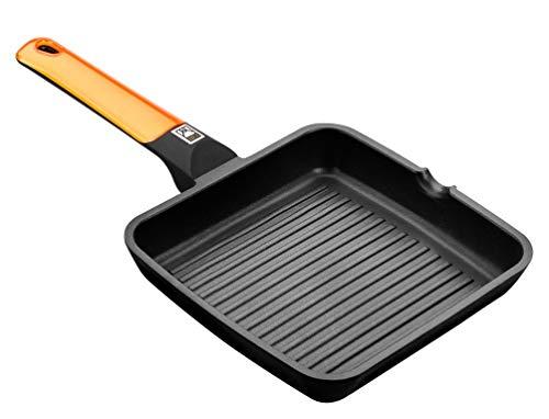 BRA Efficient Orange – Grillpfanne mit Streifen, 28 cm, Aluminiumguss mit Antihaftbeschichtung Platinum Plus…