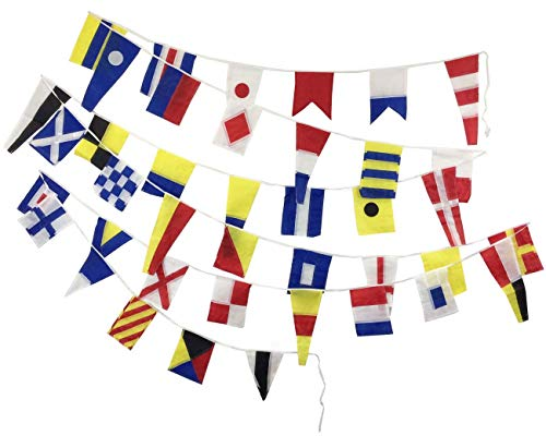 Marine Signalling Flags - 40 Flags Bunting - 12 Feet - Nautical/Boat/Beach Party (5161)]()