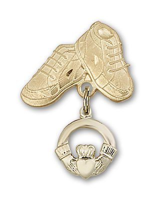 ReligiousObsession's 14K Gold Baby Badge with Claddagh Charm and Baby Boots Pin