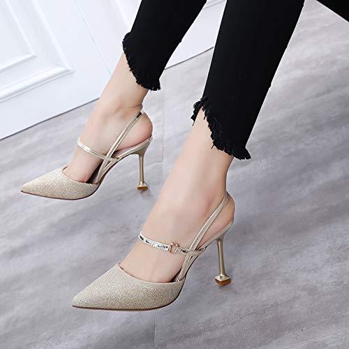 con de Mujer Altos De Salvaje zapatos Zapatos Gold Acentuados Solo tacón con alto Hebilla Femeninos Palabra Yukun Verano Tacones Un Rosa Huecos Otoño 37 con Zapatos Grueso T8qwp7