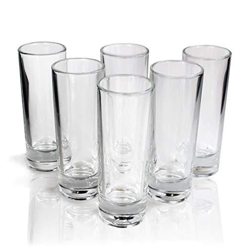 Tequila Tall Shot Glasses, Heavy Base Crystal Clear Drinking Glassware Bar Kit, Set of 6 ()