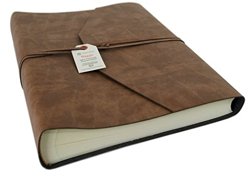 Viaggio Large Tan Handmade Recycled Leather Wrap Photo Album, Classic Style Pages (30cm x 24cm x (Recycled Leather Photo)