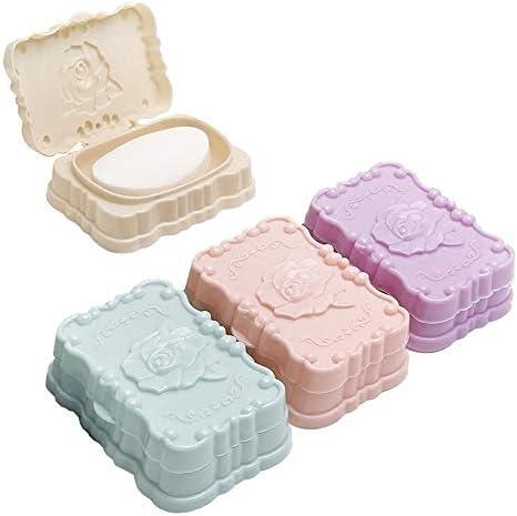 4つの異なる色の組み合わせ - 4パックソープディッシュ、プラスチックソープホルダー、シャワー用ソープディッシュ、三次元のバラの柄は、中空のボトムで、簡単に、しっかりと耐久性ドレイン