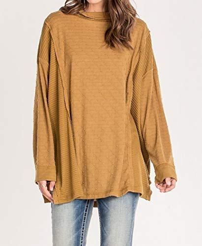 (Miss Me Women's Small Cowl Neck Textured Tunic Knit Top Yellow S)