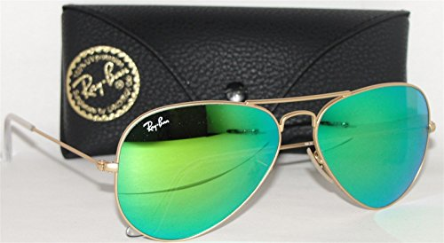 Ray Ban RB3025 112-19 Green Mirror Aviator Sunglasses Size Small - Green Ban Ray Gold Mirror