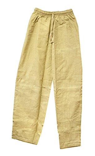 Drawstring Pocketless Solid Cotton Summer Pants, Bohemian Yoga Pants (M, Tan)