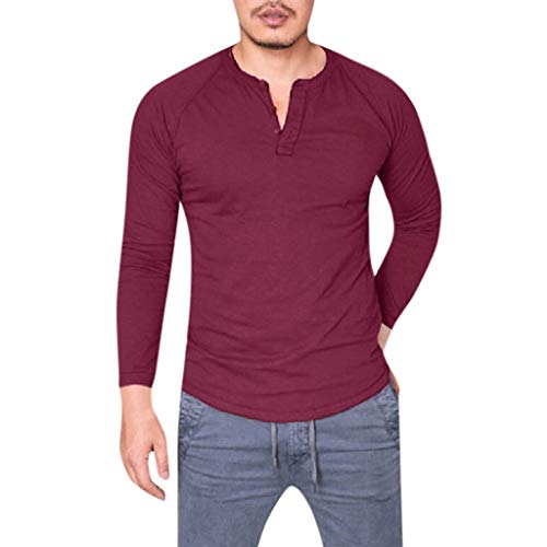 kemilove Men's Casual Slim Fit Long Sleeve Tops Buttons Front Pocket T-Shirts Cotton V Neck Tee Tops Wine