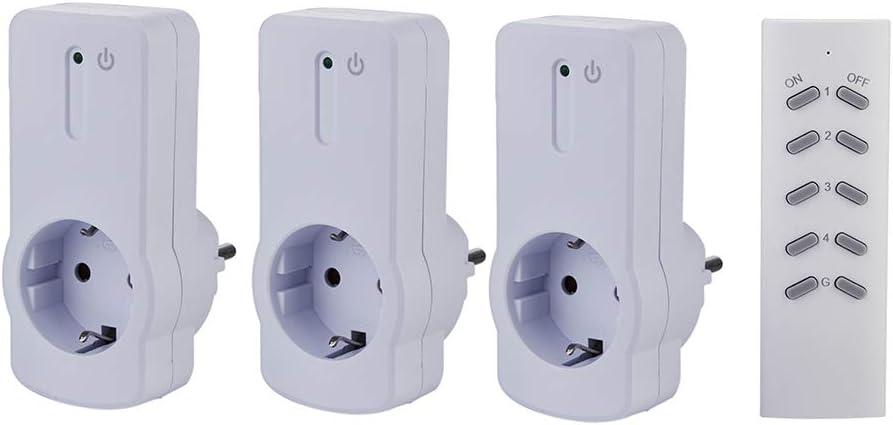 3 PACK 3680 vatios 3+1 para interiores Blanco alcance 30 m ZEYUN Enchufes Inal/ámbricos con control remoto con Control Remoto