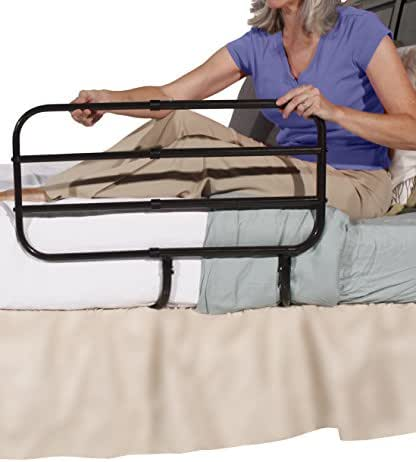 Able Life Bedside Extend-A-Rail - Adjustable Length Adult Home Bed Rail and Stand Support Handle + Included Safety Strap