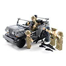 WW2 US Army Jeep and Soldiers - Military Building Block Toy