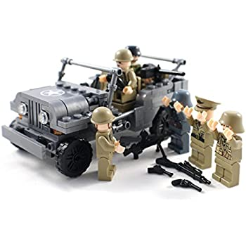 WW2 US Army Jeep with Soldiers and Weapons - Military Building Block Toy