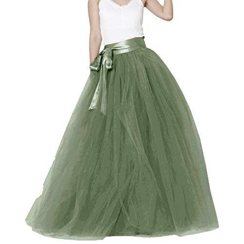 Lisong Women Floor Length Bowknot Tulle Party Evening Tutu Skirt 10 US Army Green]()