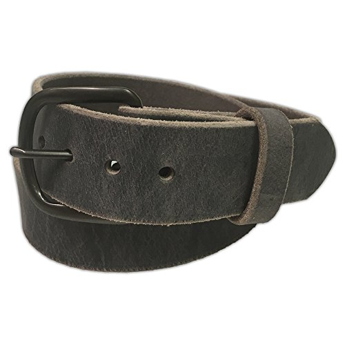 Handmade Buckle - Jean Belt, Grey Crazy Horse Water Buffalo Leather, 9 Ounce - Gun Metal Buckle - Handmade in the USA! By Exos - Size: 38