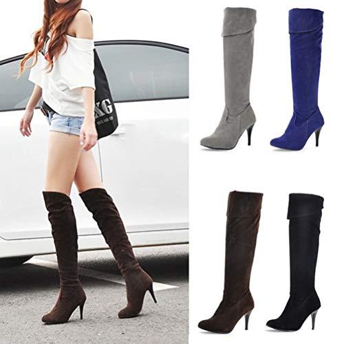 Minetom Talons Hauts Au Élégant Mode Automne Bleu Hiver Genou Bottes Boots A Stiletto Longues Daim Chaussures Femme 11xf0wY