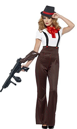 Smiffy's Women's Glam Gangster Costume, Top, pants, Mock suspenders, Neck Tie & Hat, 20's Razzle Dazzle, Serious Fun, Size 14-16, (Gangster Costume For Girls)