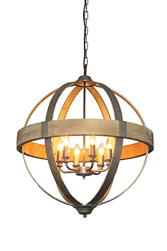 Round Wood Pendant Light in Florida - 5