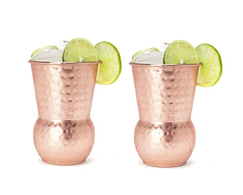 Silver One Stainless Steel Copper Hammered Finish Tumbler Shape Cocktail Moscow Mule Mug, 18 oz., Two (Hammered Shapes)
