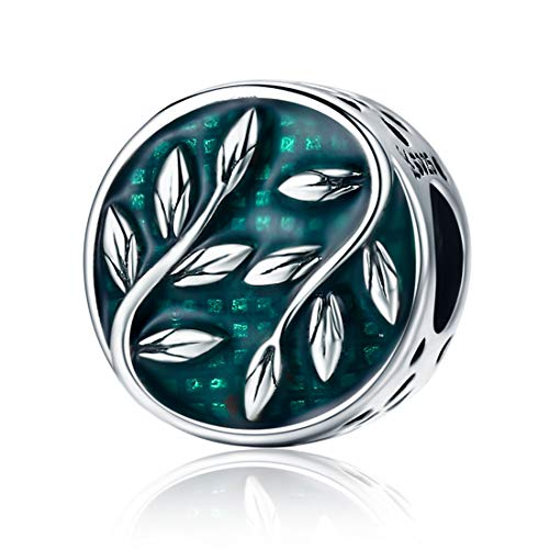 DALARAN Women's Leaf Charms Sterling Silver Green Nature's Radiance Charm for Bracelets Necklace ()