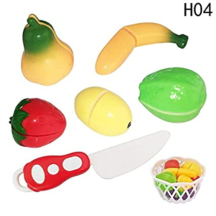 7c11171b568 XuBa Kitchen Fun Simulation Cutting Fruits Vegetables Food Plastic Toy  Pretend Food Cutting Toys Diversity Food Sets for Kids H04  Amazon.in  Home    Kitchen