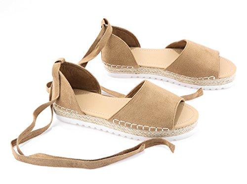 - FISACE Womens Summer Espadrille Ankle Strap Flat Sandals Peep Toe Flip-Flop Shoes Khaki, 9 M US