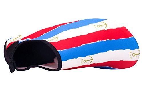 Giotto Barfuß Quick-Dry Frauen Männer Kinder Wassersport Schuhe Haut Aqua Socken für Schwimmen Beach Pool Surf Yoga B-rot / weiß