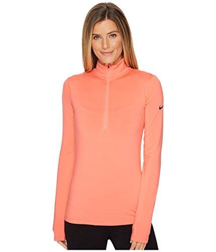 Nike Long Sleeve Body - Nike Women's Pro Warm Half Zip Long Sleeve Shirt (Sunblush/Dark Grey, S)
