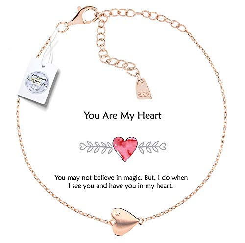 - Vivid&Keith Womens Girls 925 Real Sterling Silver 18K Plated Swarovski Zirconia Cute Adjustable Gift Fashion Jewelry Link Chain Charm Pendant Bangle Bracelet, You are My Heart, Rose Gold Plated