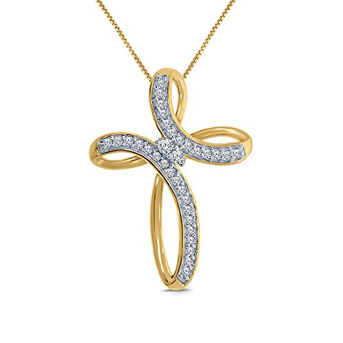 1/10ct Round White Natural Diamond 10K Yellow Gold Cross Diamond Pendant Necklace Mothers Day Jewelry Gift For Womens Teens 10k Yellow Cross Diamond Pendant