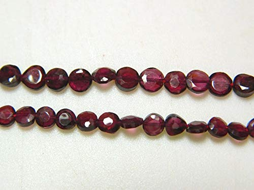 14 inch Strand of Natural Garnet  4.5-5 mm Coin Faceted Beads for Jewelry Making - Garnet - Garnet Faceted Coin ronedelles - 4.5mm - 5mm Each - 14 inch Strand