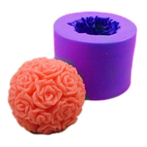 Longzang Ball Rose S0245 Silicone Candle molds Soap mold Craft Molds (Rose Ball Candle)