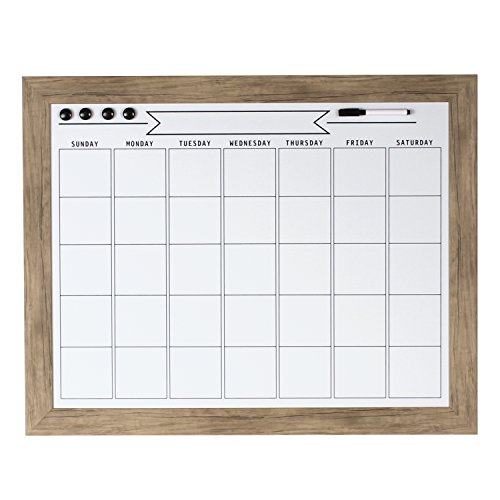 DesignOvation 209367 Beatrice Framed Magnetic Dry Erase Monthly - Brown Beatrice