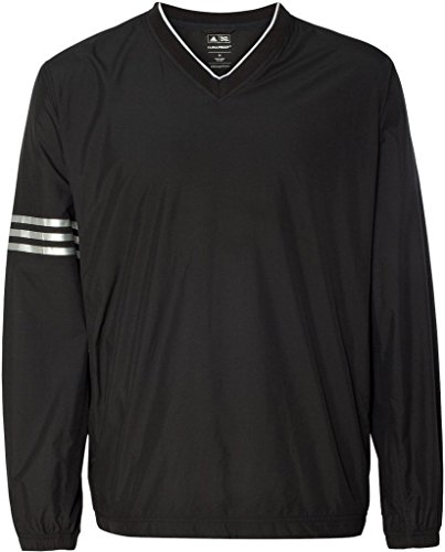 [Adidas Golf Men's Climalite Colorblock V-neck Wind Shirt - Black/black - L] (Adidas Climalite Colorblock Pullover)