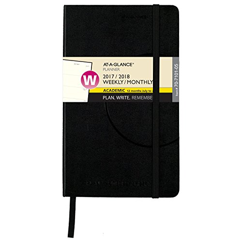"AT-A-GLANCE Academic Weekly / Monthly Academic Bookbound Planner, July 2017 - June 2018, 5"" x 8-1/4"", Plan.Write.Remember., Black (70710105)"