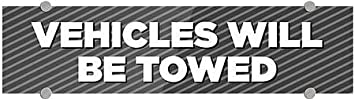 5-Pack Stripes Gray Premium Acrylic Sign 24x6 CGSignLab Vehicles Will Be Towed
