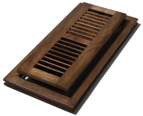 Solid Brass Louvered Register (Decor Grates WLFH412-S 4-Inch by 12-Inch Wood Flush Mount Floor Register, Hickory Saddle)