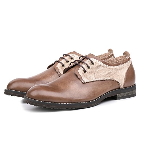 Männer Handarbeit Echtes Leder Farbe Block Blücher Schuh Derby Schuhe Round-toe Lace Up Hochzeit Büroarbeiten Schuhe Coffee