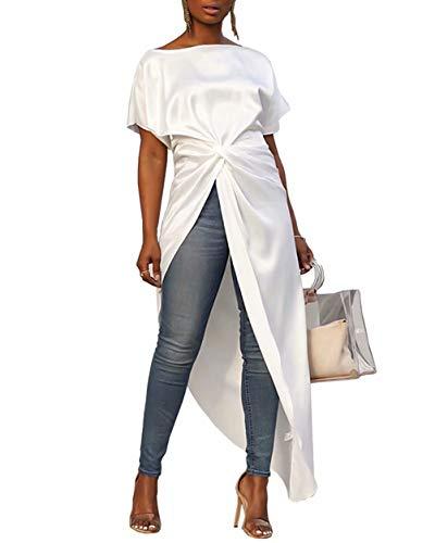 Womens Boat Neck Short Bat Sleeve Tie Knot Ruched Waist Asymmetrical High Split Dip Hem Tops Blouse Shirt Dress White XL ()