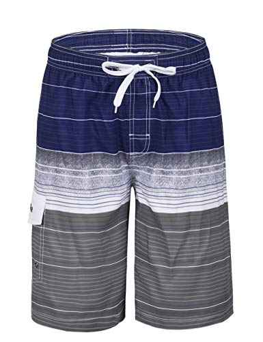 Nonwe Men's Summer Water Sport Quick Dry Striped Beach Shorts Striped Navy 36