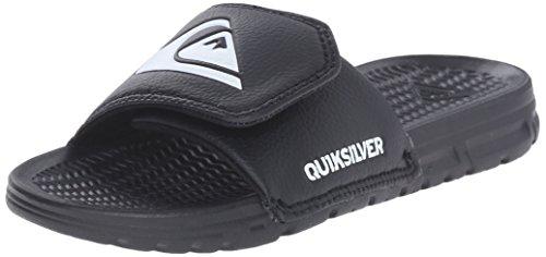 Quiksilver Slip Sandals - Quiksilver Shoreline Adjust Youth Slide Sandal (Toddler/Little Kid/Big Kid), Black/Black/White, 1 M US Little Kid