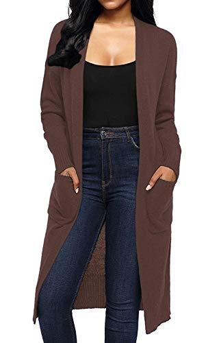 Pullover Tasche Unique Stlie Autunno Relaxed Giacca Cappotto Outwear Maniche Elegante Primaverile Monocromo Libero Donna Moda Con Coffee Maglia Lunghe Lunghi Comodo A Tempo uKclJ5T3F1