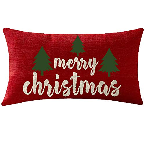NIDITW Happy Holidays Merry Christmas Trees Red Cotton Linen Throw Pillowcase Cushion Cover Sofa Chair Decorative Rectangle 12x20 Inches (Green Tree)