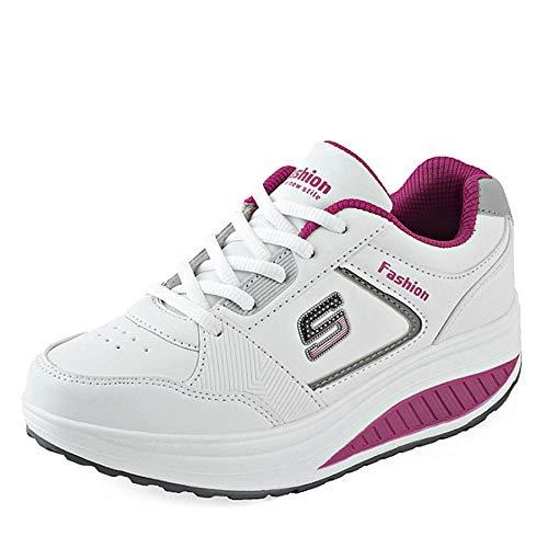 GUNAINDMX Mujeres de la Moda de Altura Creciente otoño Respirable Impermeable cuñas Zapatillas Zapatos de Plataforma Mujer PU Leahter Zapatos Casuales Red