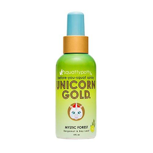 (4 FL OZ. Squatty Potty Unicorn Gold Toilet Spray, Mystic Forest)