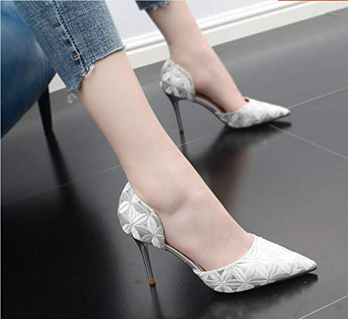 Sandals Sharp 9Cm Embroidered Embroidered Thin Shoes And shoes Hollow silvery Summer women's Heel Fashion Ladies Shoes GTVERNH High Sexy Temperament fWgZ68qB